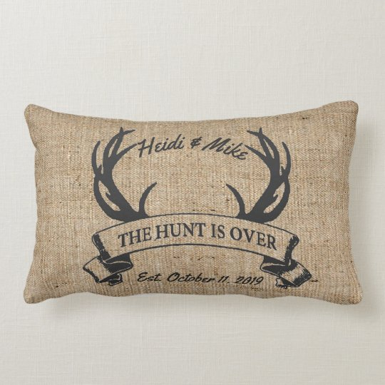 """The Hunt is Over"" Rustic Antler Custom Wedding Lumbar Pillow"