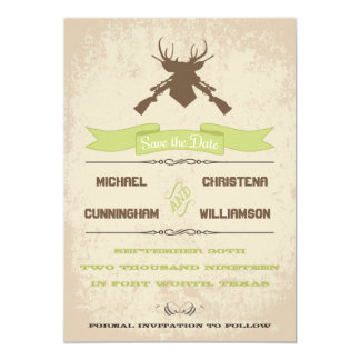 "The Hunt Is Over Rustic Country Save The Date 5"" X 7"" Invitation Card"