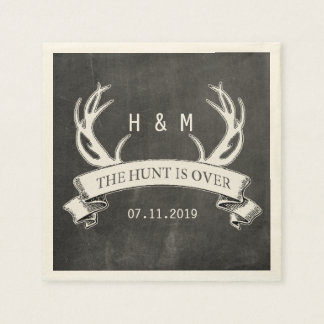 """""""The Hunt is Over"""" Rustic Custom Wedding Gift Disposable Napkin"""