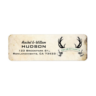 """The Hunt is Over"" Rustic Wedding Address Labels"
