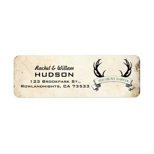 """""""The Hunt is Over"""" Rustic Wedding Address Labels"""