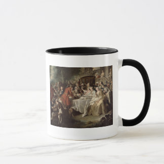 The Hunt Lunch, detail of the diners, 1737 Mug