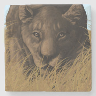 The Hunter Lioness Stalking Prey Stone Coaster