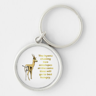 The hyena that chases 2 antelopes Silver-Colored round keychain