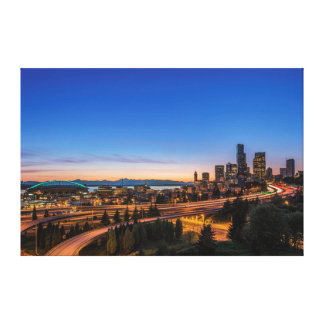 The I-5 freeway and downtown Seattle at twilight Canvas Print