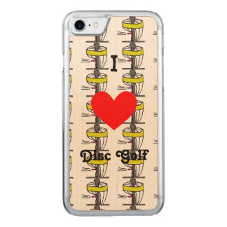 The I ♥ Disc Golf Iphone case/cover w/maple Carved iPhone 7 Case