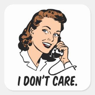 The I don't care retro gal Square Sticker