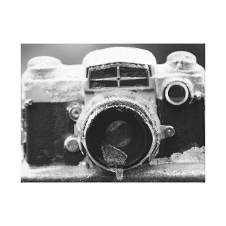 The Ice Storm Vintage Black & White Camera Canvas Print