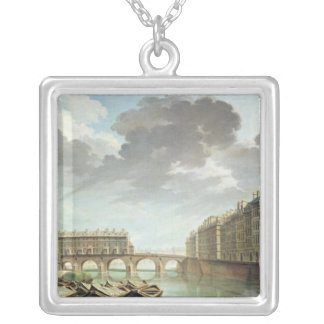 The Ile Saint-Louis and the Pont Marie in 1757 Silver Plated Necklace