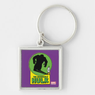 The Incredible Hulk Vintage Shadow Graphic Silver-Colored Square Keychain