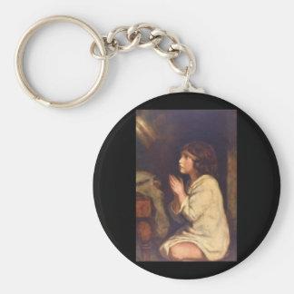 The Infant Samuel at Prayer_Portraits Basic Round Button Keychain