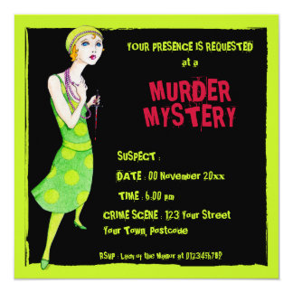 The Ingenue black Murder Mystery Invitation