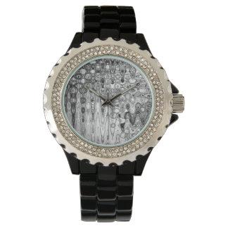 The Ink & Echo II Black Enamel Rhinestone Watch