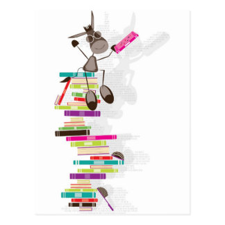 The Intellectual Donkey on top of a tower of books Postcard