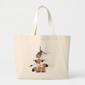 The Intellectual Donkey reading Large Tote Bag