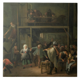 The Interior of a Tavern with a Couple Dancing to Ceramic Tile