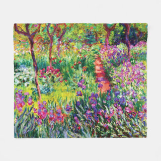 The Iris Garden at Giverny by Claude Monet Fleece Blanket