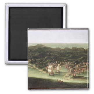 The Island of Barbados, c.1694 (oil on canvas) Square Magnet