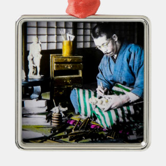 The Ivory Carver Craftsman in Old Japan Vintage Silver-Colored Square Ornament