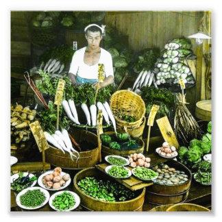 The Japanese Farmers Market Fall Harvest Vintage Photo