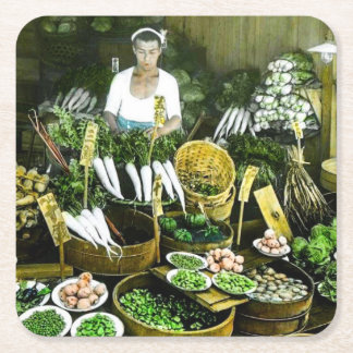 The Japanese Farmers Market Fall Harvest Vintage Square Paper Coaster