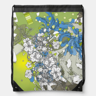 The Japanese retro flower and fan and plant green Drawstring Bag