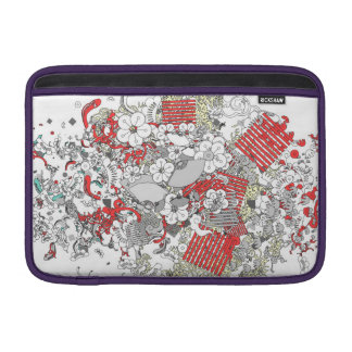 The Japanese retro flower and fan and plant red Sleeve For MacBook Air