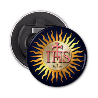 The Jesuit Seal Button Bottle Opener