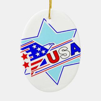 The Jewish American Ceramic Oval Ornament