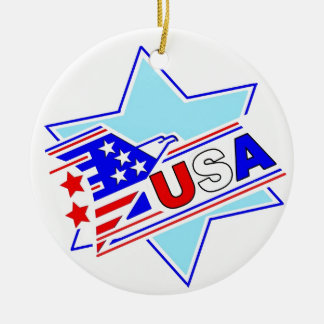 The Jewish American Round Ceramic Ornament