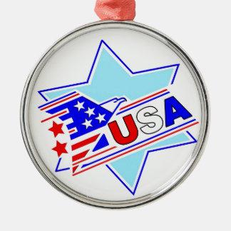 The Jewish American Silver-Colored Round Ornament