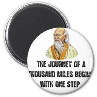 the journey of a thousand miles begins with a sing 2 inch round magnet