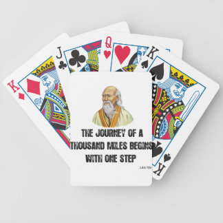 the journey of a thousand miles begins with a sing bicycle playing cards