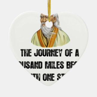 the journey of a thousand miles begins with a sing ceramic heart ornament