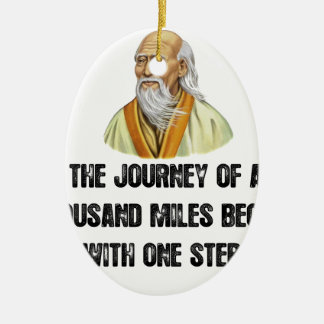 the journey of a thousand miles begins with a sing ceramic oval ornament