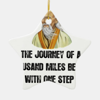 the journey of a thousand miles begins with a sing ceramic star ornament