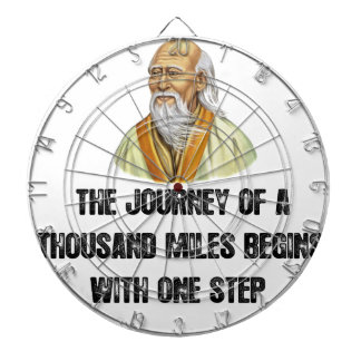 the journey of a thousand miles begins with a sing dartboard