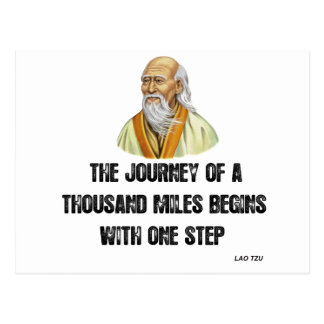 the journey of a thousand miles begins with a sing postcard