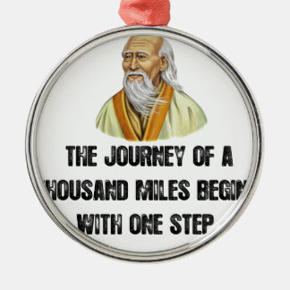 the journey of a thousand miles begins with a sing Silver-Colored round ornament