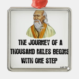 the journey of a thousand miles begins with a sing Silver-Colored square ornament