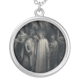 The Judas Kiss by Gustave Dore Silver Plated Necklace