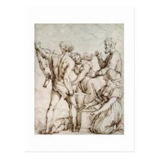 The Judgement of Solomon (pen & ink) Postcard