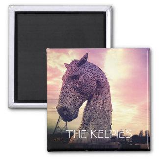 The Kelpies magnet, high horse-head sculptures Square Magnet