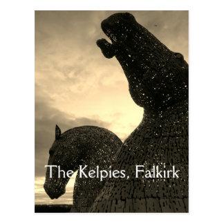 The Kelpies postcard, high horse-head sculptures Postcard