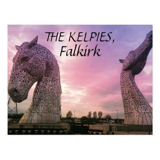 The Kelpies postcard, high horse-head sculptures Postcard