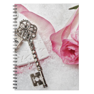 The Key to my Heart Rose and Lock Valentines Day Spiral Notebook