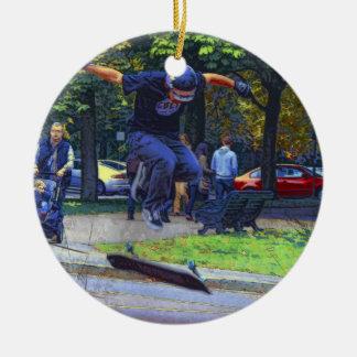The Kickflip  -  Skateboarder Round Ceramic Ornament