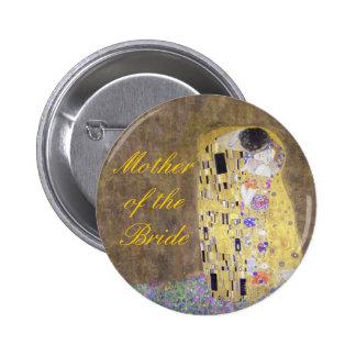 """The Kiss"" A Romantic Klimt Wedding Theme Badge Pinback Buttons"