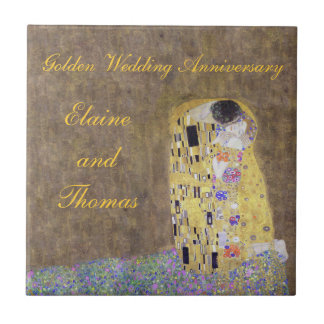 The Kiss Art Nouveau Golden Wedding Anniversary ti Tile