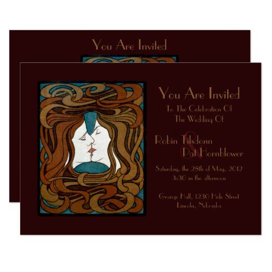 """The Kiss"" Art Nouveau Vintage Wedding Invite"